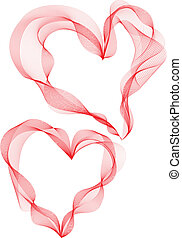 ribbon hearts - two abstract ribbon hearts, vector...