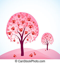 two abstract trees with hearts