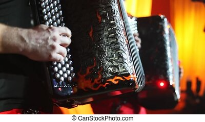 two accordion player perform at concert kind in profile