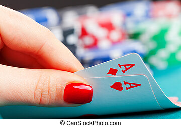 Two aces and gambling chips