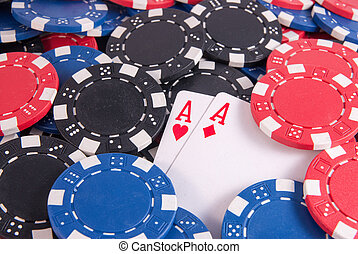two aces and poker chips