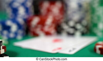 Two Aces And Poker Chips On Table. Focus On Playing Cards