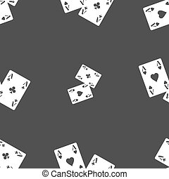 Two Aces icon sign. Seamless pattern on a gray background. Vector