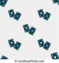 Two Aces icon sign. Seamless pattern with geometric texture. Vector
