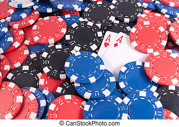 two aces red and poker chips