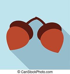 Two acorn icon, flat style