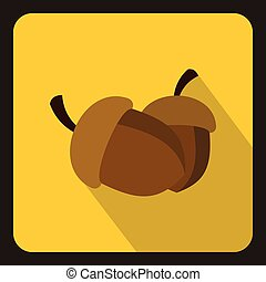 Two acorn icon, flat style