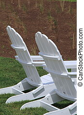 Two adirondack chairs - Scene of two Adirondack chairs set...