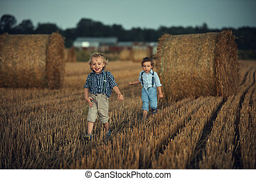 Two adorable brothers having fun in the countryside