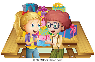 Two adorable kids near the table with many gifts