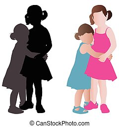 two adorable little girls in summer dresses hugging - vector