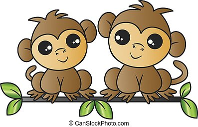 two adorable monkeys sitting on a branch