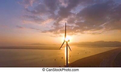Two aerogenerator when sun rise