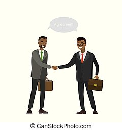 Two African american businessman shake hands