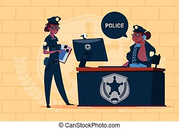 Two African American Police Women Working On Computer Wearing Uniform Female Guards On Blue Bricks Background