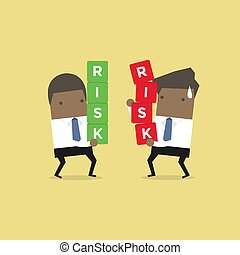 Two African businessman carrying risk blocks. Risk management. Business concept.