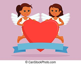 Two african female cupid holding big heart