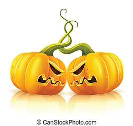 two aggressive halloween pumpkins in skirmish illustration, ...