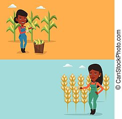 Two agricultural banners with space for text. Vector flat...