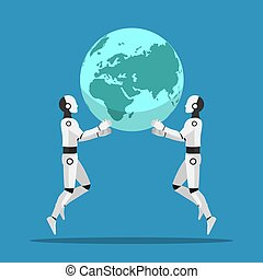 Two Ai robot help together to raising the world