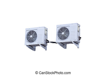 Two air conditioners isolated on white background