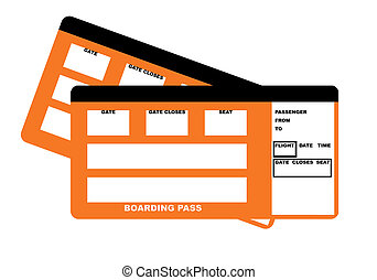 Two airline boarding pass tickets - Illustration of two...