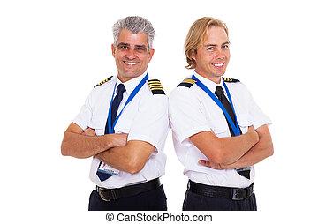 airline pilots wearing uniform