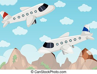 Two airplanes flying in the sky illustration