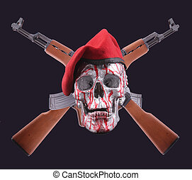 AK-47 - Two AK-47 with a human skull and red beret on black ...