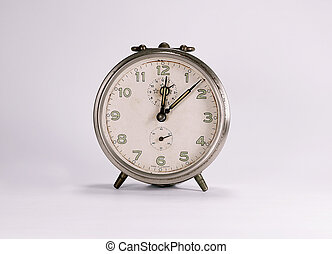 Two alarm clock retro and vintage classic design in white background