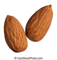 Two almonds isolated on white background