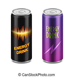 Two aluminum cans of energy drink.