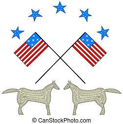 Two American Flag waving