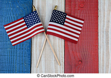 Two American Flags on Painted Wood Background - Two American...