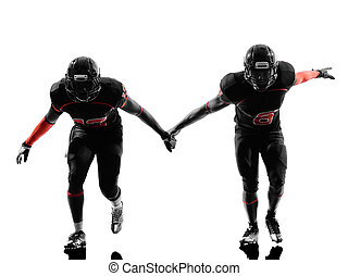 two american football defense players silhouette