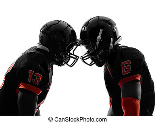 two american football players face to face silhouette
