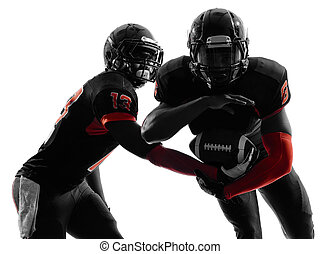 two american football players passing play action silhouette...
