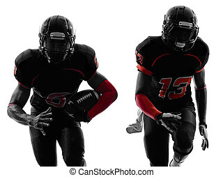 two american football players running silhouette - two...