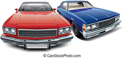 Two American vintage automobiles - High quality vector image...