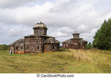 Two ancient destroyed wooden churchs in northern russian ...