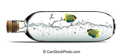 Two angelfish and water splashes inside Glass bottle with cork.
