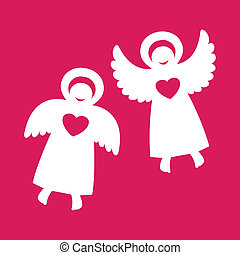 angels - Two angels with hearts on a red background