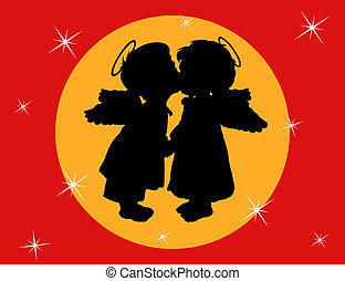 Two angels with wings on a red background