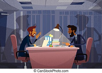 Two Angry Business Man Agruing Talking, Businessmen Chat Sitting Office