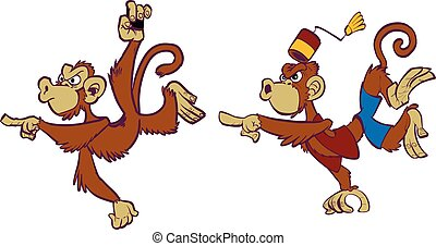 Vector cartoon clip art illustration set of two angry monkey mascots, one wild, one domesticated in costume, one hanging and pointing, one jumping and pointing, in separate layers.