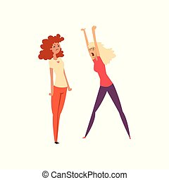 Two angry girls arguing with each other, girls quarreling and swearing vector Illustration on a white background
