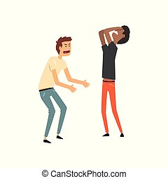 Two angry men arguing with each other, hard conversation vector Illustration on a white background