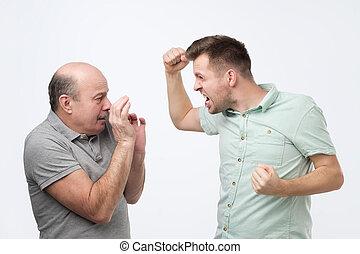 Family quarrel and disrespect to parents concept