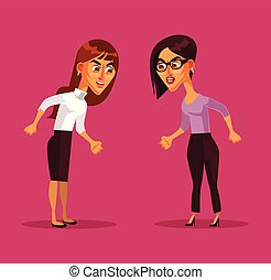 Two angry woman characters arguing. Vector flat cartoon illustration