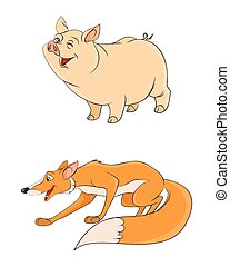 Two animals: fox and pig - Vector illustration of a two...
